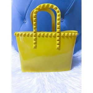 Small Studded Yellow Jelly Tote